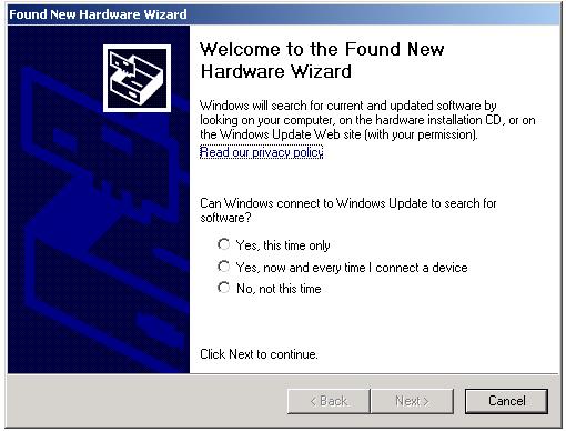 Found New Hardware Wizard