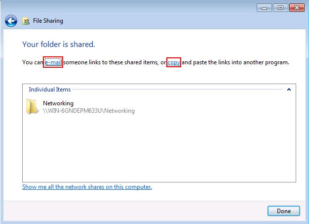 Windows 7 File Sharing Wizard