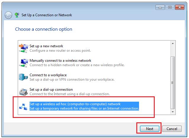 Windows 7 Set up an Ad Hoc Network