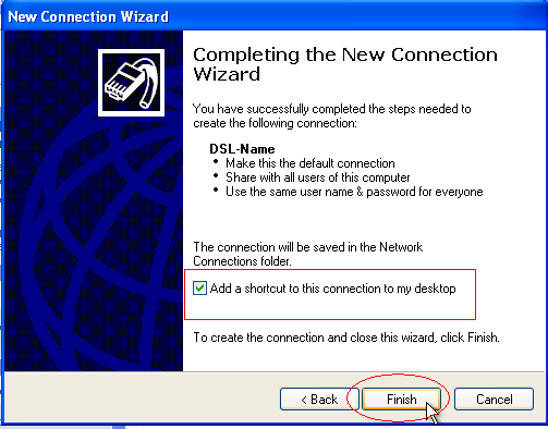 Completing the New Connection Wizard for PPPoE