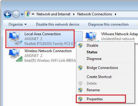 Network Connections for Windows 7