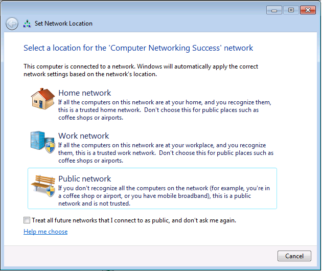 How to change the network location type