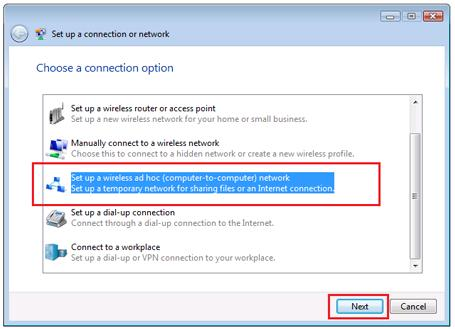 Set up a wireless ad hoc (computer-to-computer) network
