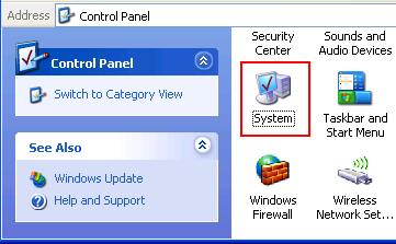 System icon in Windows XP