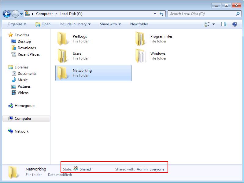 Windows 7 shared folder