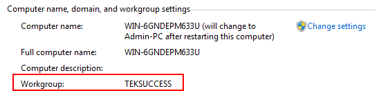 Windows 7 Workgroup Name