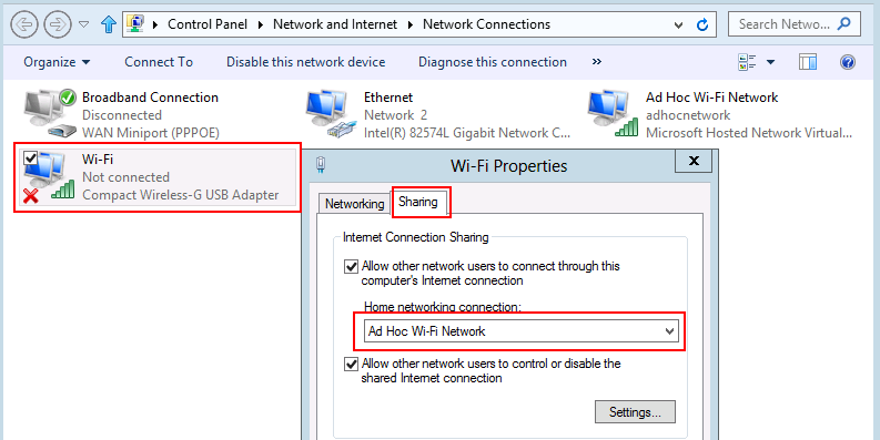 Windows 8 Internet Connection Sharing