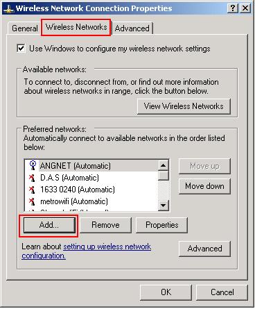 Wireless Networks tab in Windows XP
